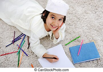gosse, arabe, musulman, devoirs, maison
