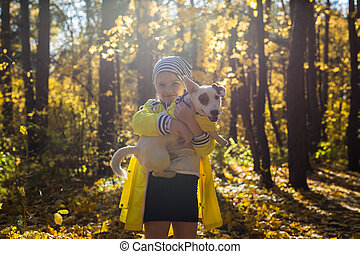 gosse, chien, autumn., cric, chouchou, girl, terrier, russell, outdoors., puppy., enfant
