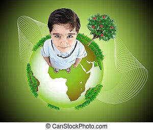 gosse, concept, earth., photo, debout, illustration., planète