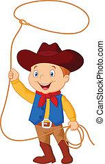 gosse, cow-boy, tournoyer, lasso
