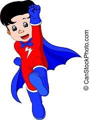 gosse, dessin animé, superhero
