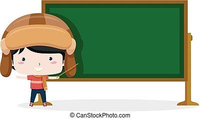 gosse, garçon, illustration, noir, aviateur, planche