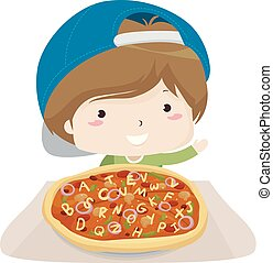 gosse, garçon, pizza, illustration, alphabet