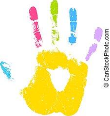 gosse, icône, vecteur, coloré, impression, main
