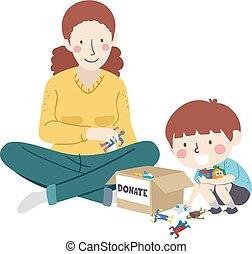 gosse, jouets, garçon, mère, illustration, donner