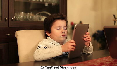 gosse, mignon, informatique, tablette, utilisation