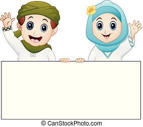 gosse, musulman, main, onduler, tenue, signe blanc, heureux