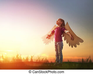 gosse, oiseau, ailes