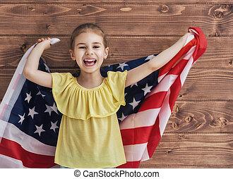 gosse, patriotique, heureux, vacances