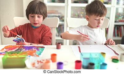 gosse, peinture, jardin enfants