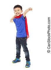 gosse, pose, combat, heureux, superhero, faire