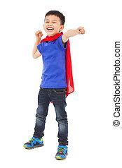 gosse, pose, sourire, poing, superhero, faire