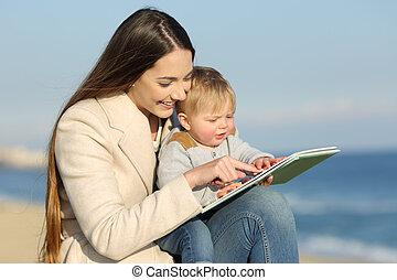 gosse, projection, livre, apprentissage, mère