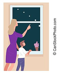 gosse, projection, manière, maman, laiteux, ciel