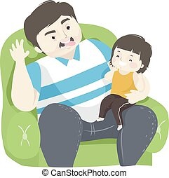 gosse, rire, homme, papa, girl, illustration, ensemble