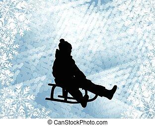 gosse, sledding, silhouette