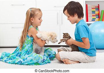 gosses, à, leur, animaux familiers, -, chien, et, chat