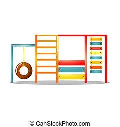 gosses, échelle, illustration, fond, isolé, complexe, cour de récréation, sports, mur, vecteur, swing., escalade, blanc