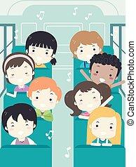 gosses école, autobus, illustration, étudiant, chanter