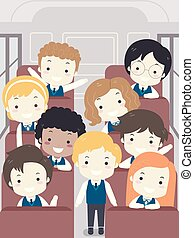 gosses école, autobus, illustration, uniforme, étudiant