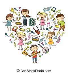 gosses école, chansons, instruments, enfants, illustration, musical, jardin enfants, vecteur, collection musique, griffonnage, leçon, chant, jouer, icône