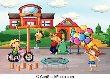 gosses école, cour de récréation, jouer
