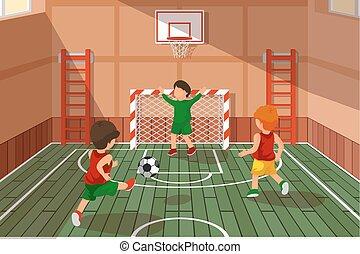 gosses école, game., illustration, vecteur, football, football, jouer