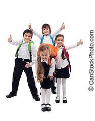 gosses école, groupe, dos, aller, heureux