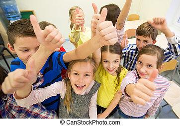 gosses école, groupe, projection, haut, pouces