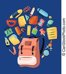 gosses école, illustration., affiche, banner., enveloppe, sac à dos, ruler., gomme, accessories., équipement, vecteur, education, fournitures, bureau, stylo, coloré, crayon, stationnaire