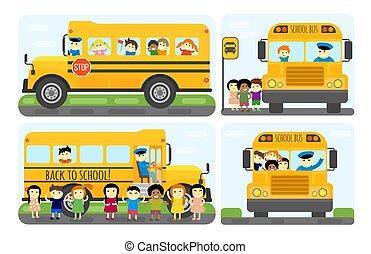 gosses école, illustration., autobus, vecteur, transport