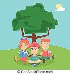 gosses école, nature., arbre, livres, sous, lecture