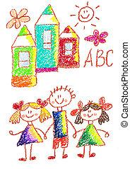 gosses école, school., drawing., dos, crayon, kindergarten., playground., illustration., heureux, enfants, image.