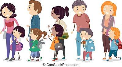 gosses école, stickman, parents, jour, premier