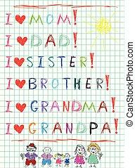 gosses, écriture main, je, amour, mon, famille, et, dessiné, caractères, de, maman, papa, gosses, et, grands-parents