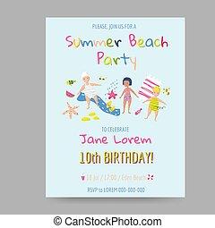 gosses été, creatures., célébration, shower., anniversaire, vecteur, illustration, mer, invitation, bébé, fête, plage, enfants, carte, heureux