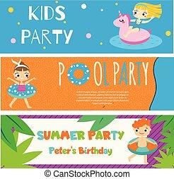 gosses été, invitations, annonces, enfants, banners., activité plein air, fête, plage, avoir, heureux