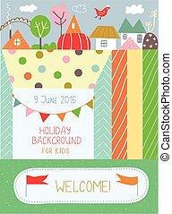 gosses, affiche, fetes, jardin enfants, anniversaire, fond,...