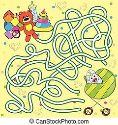 gosses, aide, obtenir, -, jouets, bébé, labyrinthe