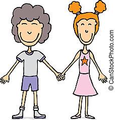 gosses, amour, couple, jeune, /, tenant mains