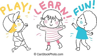 gosses, amusement, apprendre, illustration, jeu