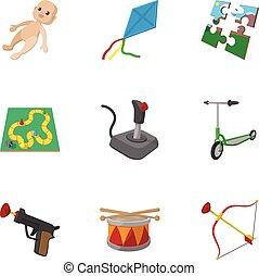 gosses, amusement, icônes, ensemble, dessin animé, style