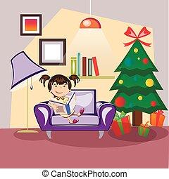 gosses, arbre, à côté de, livre, lecture, noël
