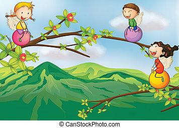 gosses, arbre, jouer