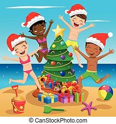 gosses, arbre, multiculturel, maillot de bain, exotique, sauter, heureux, plage, noël, chapeau