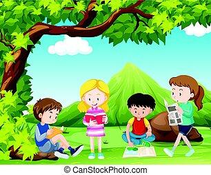 gosses, arbre, quatre, livres, sous, lecture