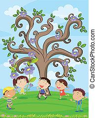 gosses, arbre, sous