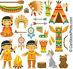 gosses, art, agrafe, américain, ensemble, indigène