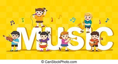 gosses, autour de, grand, group., text., musical, enfants, concept, instruments musique, jouer