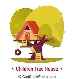 gosses, barrière, abri, arbre, ladder., cour de récréation, children., tree-house